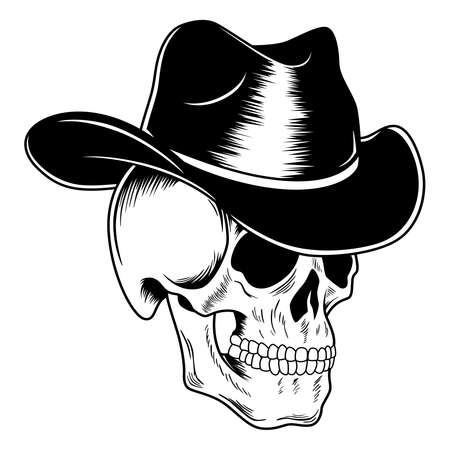 Black scary skull in cowboy hat