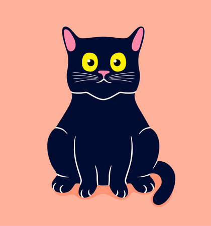 Cartoon cute sitting British cat with big eyes
