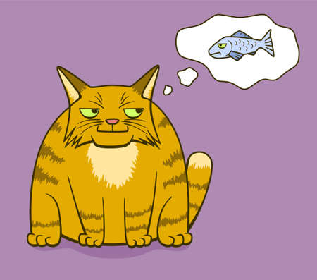 Cartoon gloomy ginger cat smiling and think about gloomy fish Illustration