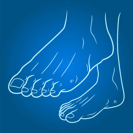 Healthy feet line illustration on gradient background Stock Illustratie