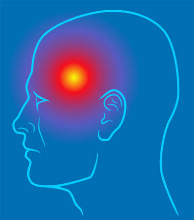 Head pain line illustration on blue background