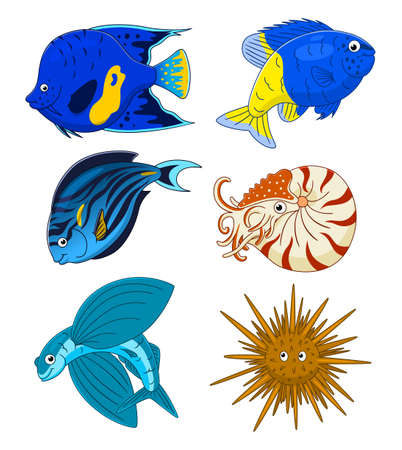 Set of six fish and underwater animal set