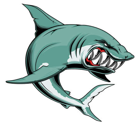 Angry shark with sharp teeth 矢量图像