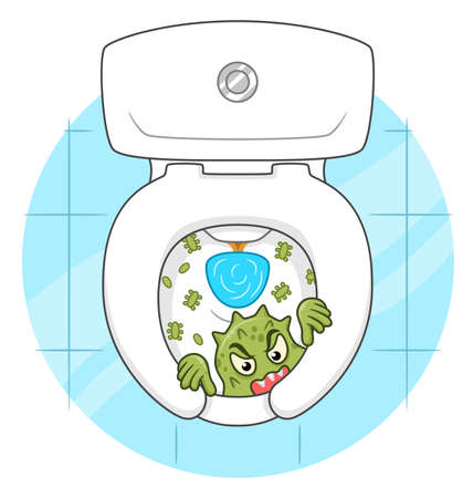 Cartoon funny microbe peek out from the toilet bowl