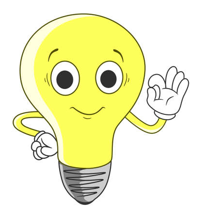 Cartoon smiling bright idea lamp gesturing okay