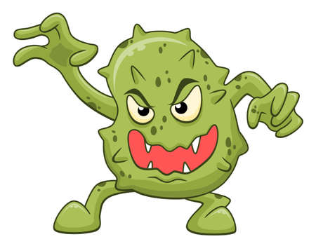 Cartoon funny scary microbe isolated on white background