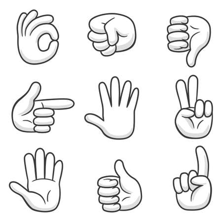 Set of cartoon hand show different gestures