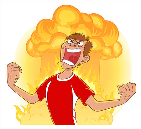 Cartoon man clench fists and scream with nuclear blast and fire on background. Negative emotions illustration.