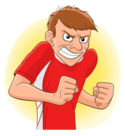 Cartoon anger man clench fists and grin. Negative emotions illustration. Illustration
