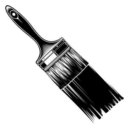 Monochrome paintbrush with paint trace