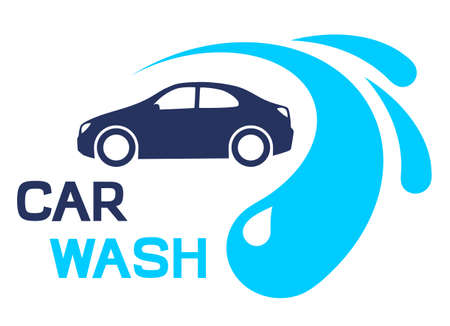 Car and water drops. Car wash illustration