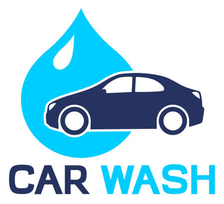 Car in water drop. Car wash illustration Иллюстрация