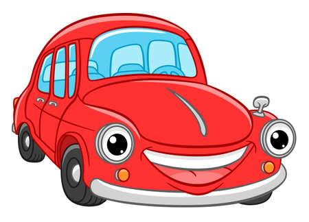 Cartoon cute and funny red retro car Иллюстрация