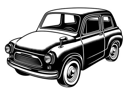 Retro style car monochrome illustration