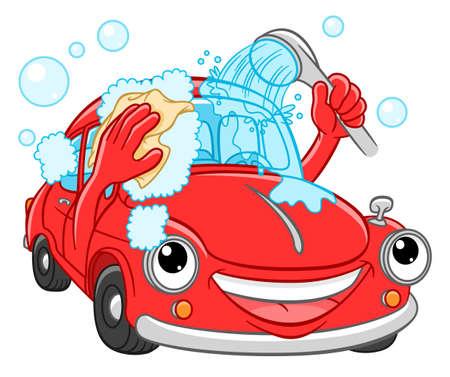 Cartoon lächelndes Auto wäscht sich. Abbildung einer Autowäsche