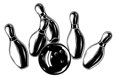 Monochrome falling bowling pins and ball