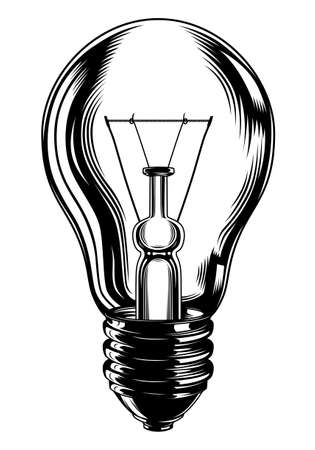 Monochrome light bulb vector illustration