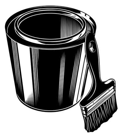 Monochrome paint tin and paint brush vector illustration