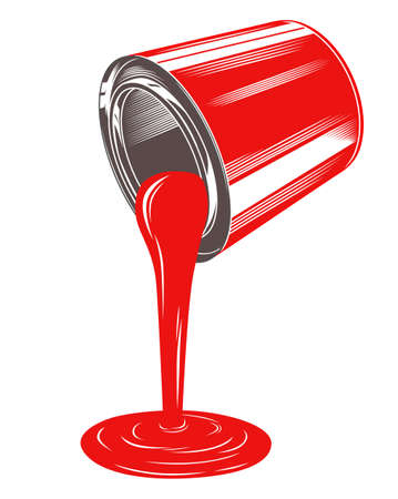 Red paint tin and flowing paint vector illustration