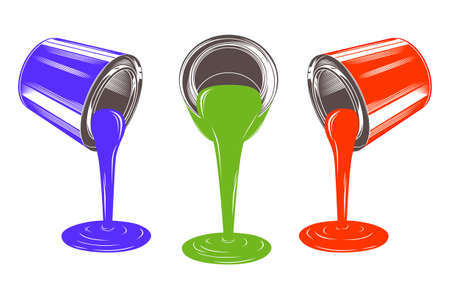 Three paint tins and flowing paint vector illustration