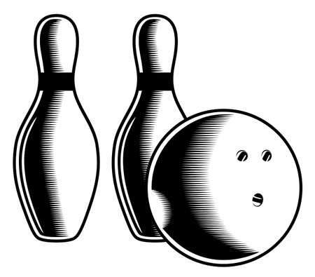 Monochrome two bowling pins and ball