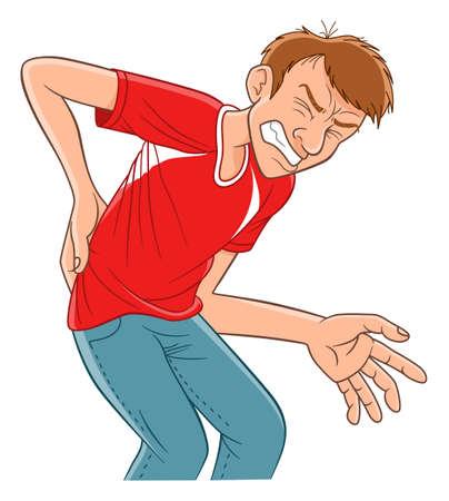 Hombre de dibujos animados hace una mueca de dolor y se detiene