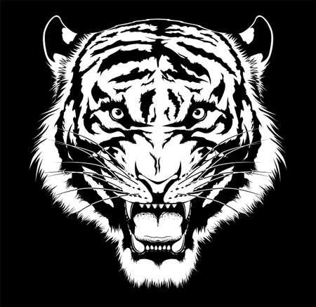 Stylized black and white roaring tiger head on black background