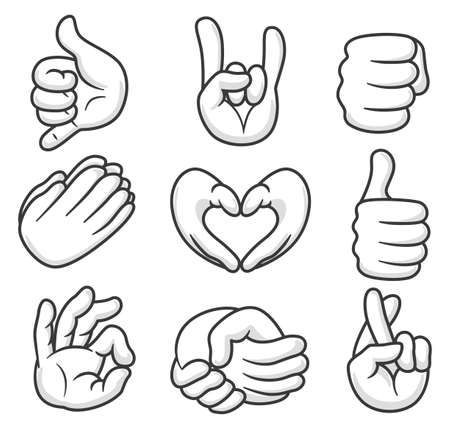 Set of nine cartoon hand show different gestures