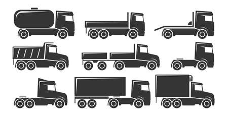 Set of nine icons for truck transport theme Иллюстрация