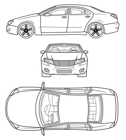 Line art car illustration from different sides