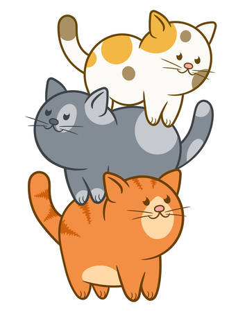 Cartoon three cute and funny cats stand on each other Иллюстрация
