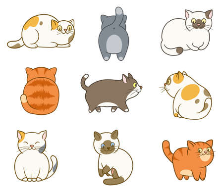 Set of nine cute and funny cats isolated on white background Иллюстрация