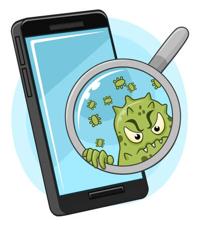 Cartoon funny microbe peek out from magnifying glass, aimed at smartphone. Dirty smartphone illustration