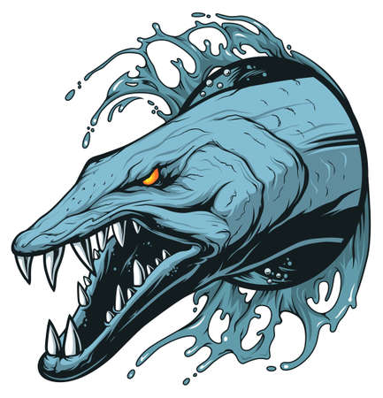 Scary barracuda with sharp teeth in the waves Stock Illustratie