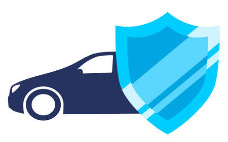 Car behind shield. Car protection and insurance illustration isolated on white background Stock Illustratie