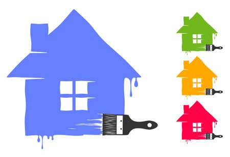 House painted by paintbrush with dripping paint isolated on white background