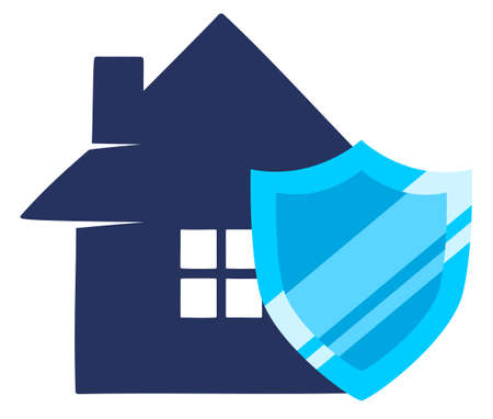 House behind shield. House protection and insurance illustration isolated on white background Ilustracja