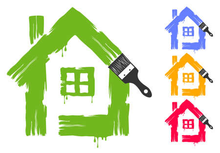 House painted by paint trails with dripping paint isolated on white background