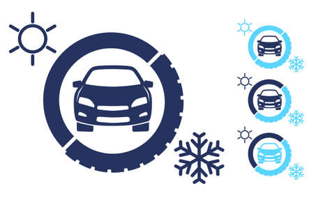 Car icon in winter and summer tire. Seasonal tire change illustration isolated on white background