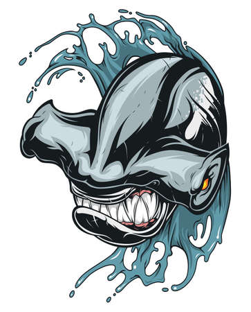 Anger hammerhead shark with sharp teeth in the waves