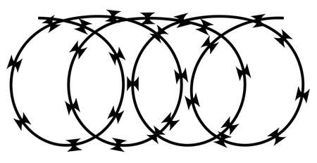Stretched barbed tape illustration isolated on white background