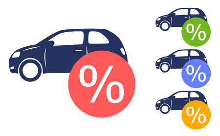 Car and percent sign. Sale and profit illustration