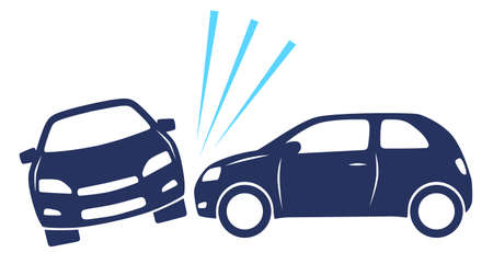 Car crash illustration with two icon cars
