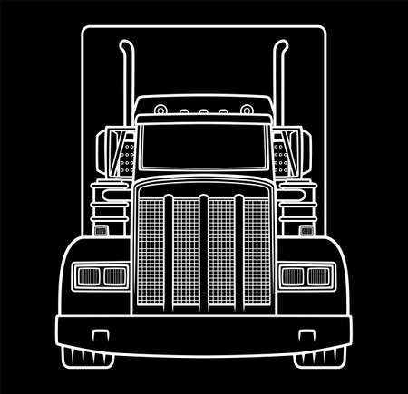 Classic semi truck front view on black background. Truck industry illustration. Stock Illustratie