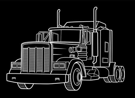 Classic semi truck on black background. Truck industry illustration.