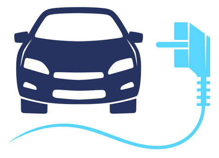 Electro car and electric plug. Eco-friendly car illustration