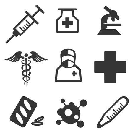Set of nine icons for medicine theme Stock Illustratie