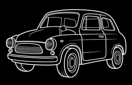 Classic retro car on black background. Car industry illustration.