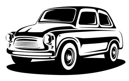 Classic retro car art. Car industry illustration.