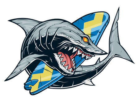 Anger shark with sharp teeth and surfboard Ilustracja